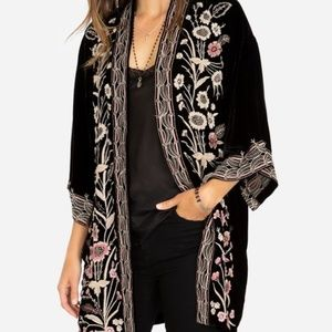 NWT🌷 JOHNNY WAS ROSA EMBROIDERED VELVET KIMONO XL
